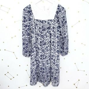 Anthro • Floral Print Embroidered Peasant Dress
